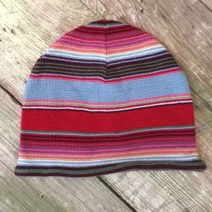 Striped Beanie fine knit multicolor rolled edge